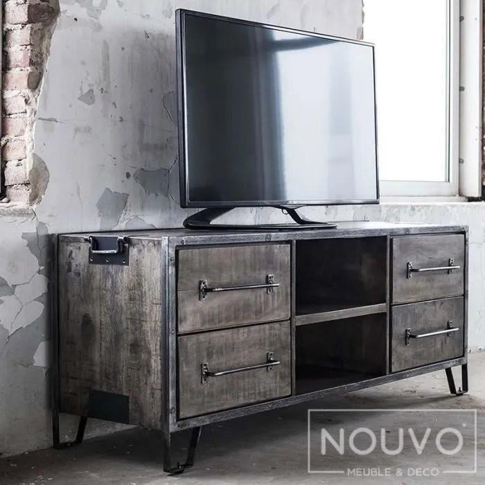 meuble tv industriel en bois massif et
