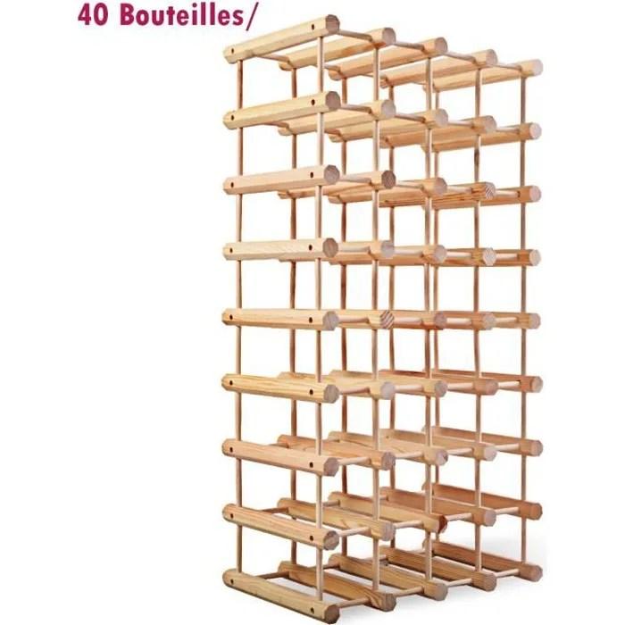 casier pour range bouteilles etagere de rangement jusqu a 40 bouteilles de vin modulable en bois de pin 33 x 24 x 102 5 cm