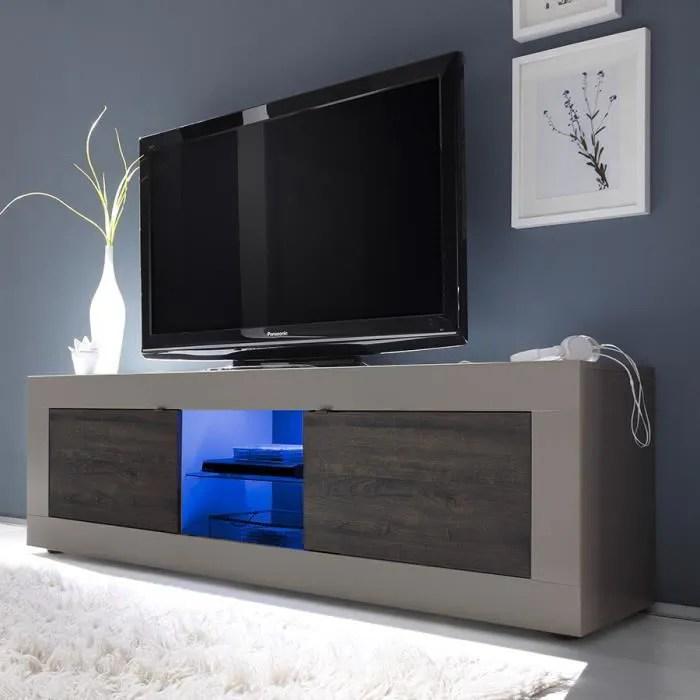 meuble tv 180cm laque mat taupe et