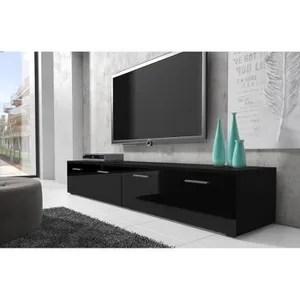 meuble tv noir laque cdiscount maison