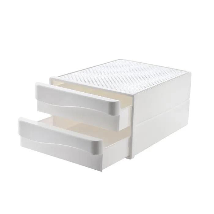 boite de rangement plastique 2 tiroirs blanc