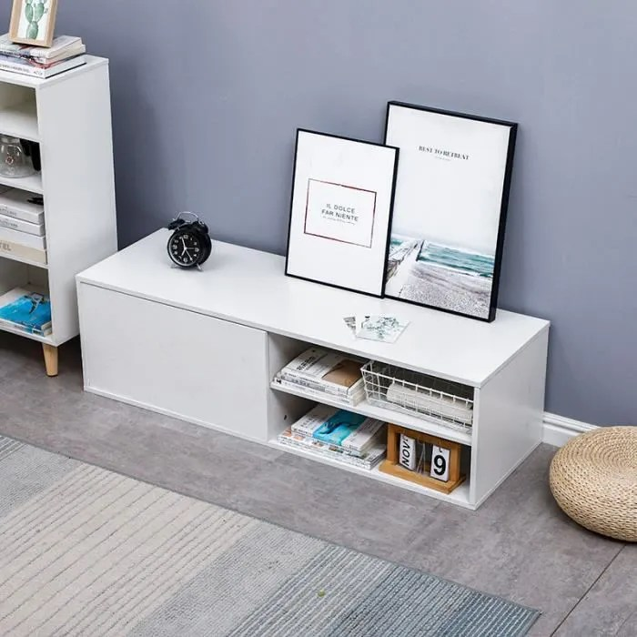 meuble tv contemporain melamine blanc l 130 cm x