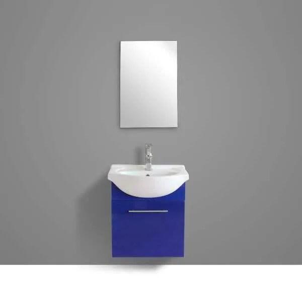 ensemble meuble de salle de bain simple vasque avec miroir blanc et bleu