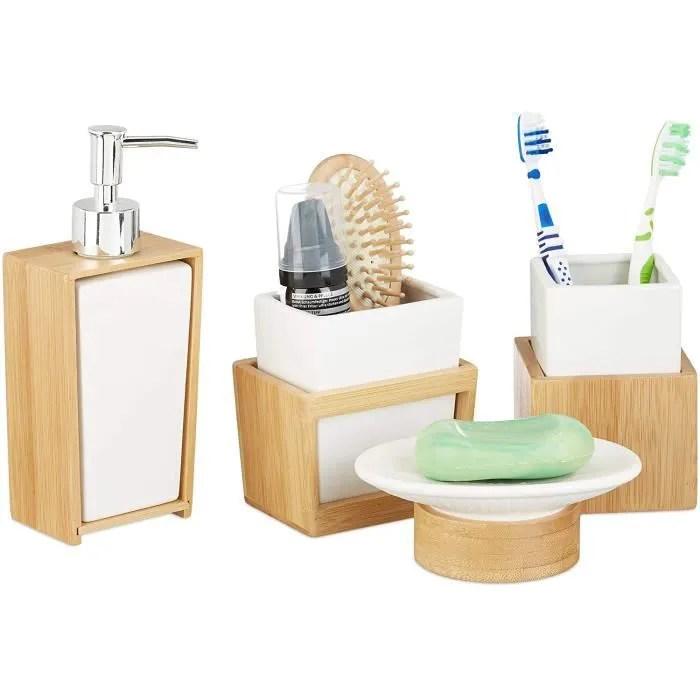 set accessoires salle de bain bambou ceramique set