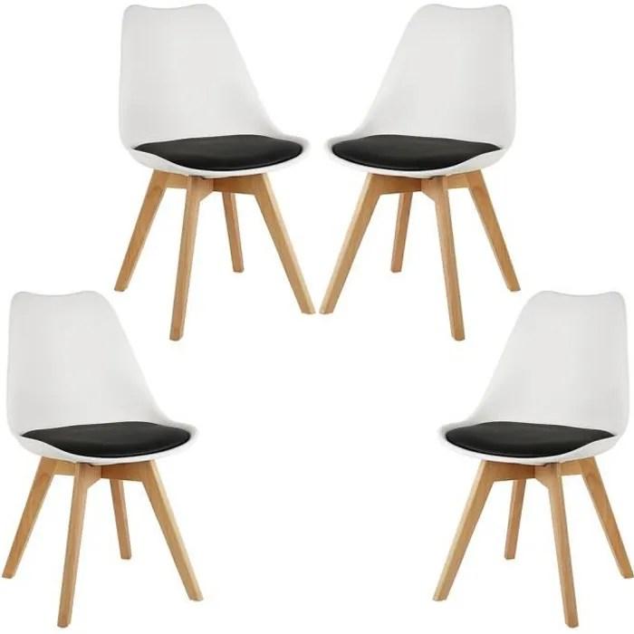 lot de 4 chaises de salle a manger avec un coussin de siege en cuir rembourre design scandinave jambe de bois de hetre noir et blan