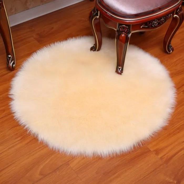 tapis rond pleuche beige 180 cm
