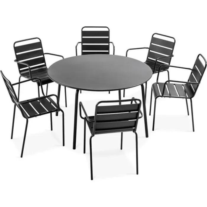 ensemble table de jardin ronde et 6