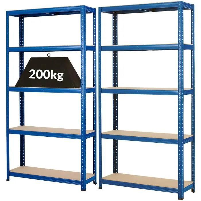 mega deal lot economique de 2 x rayonnage pour charges lourdes profondeur 30 cm 200 kg charge max par etagere