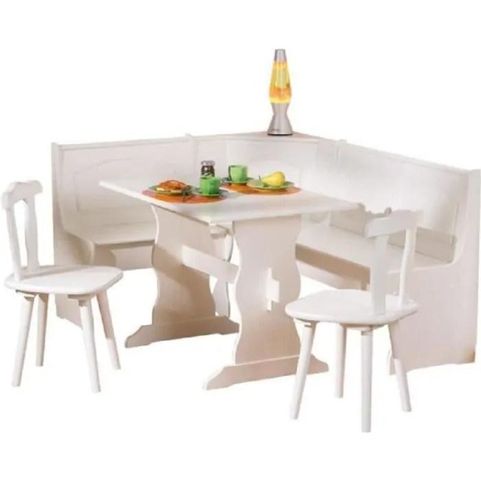 Coin Repas D Angle Avec Table Et Chaise En Pin Massif Blanc Cdiscount Maison