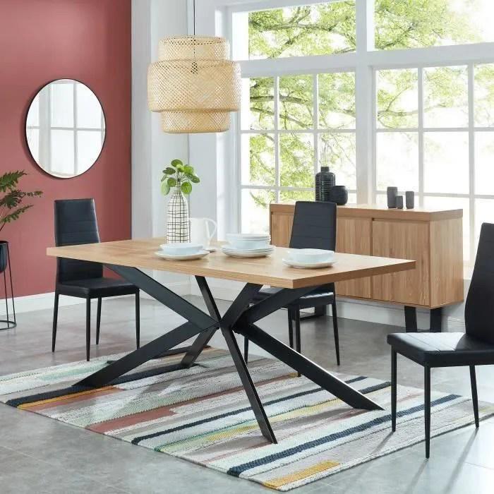 felix table a manger style industriel 6 a 8 personnes plateau coloris chene pieds metal noir l 180 x 90cm