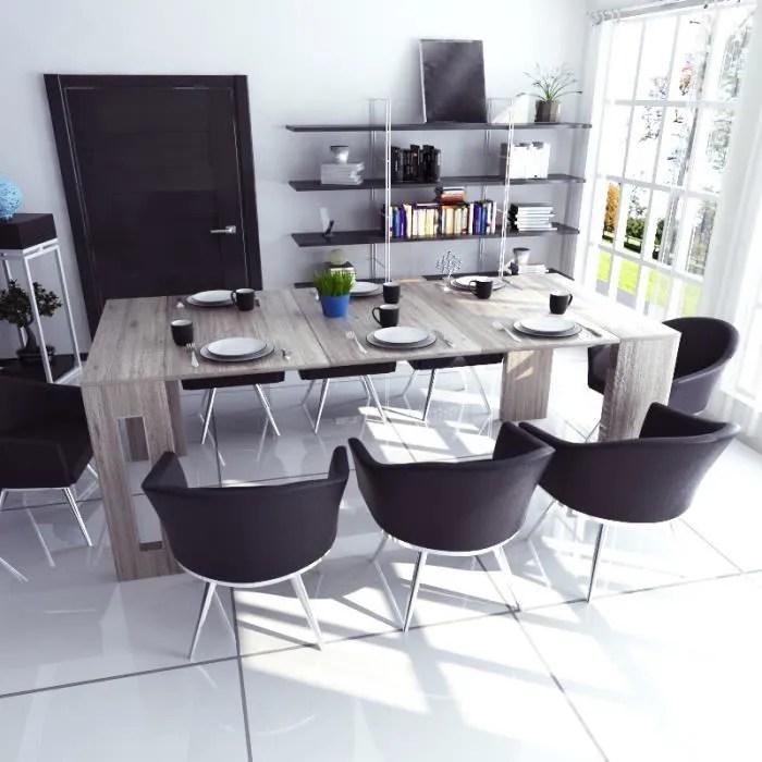 table extensible table salle a manger roma 80 cm orme style moderne avec 3 rallonges style contemporain