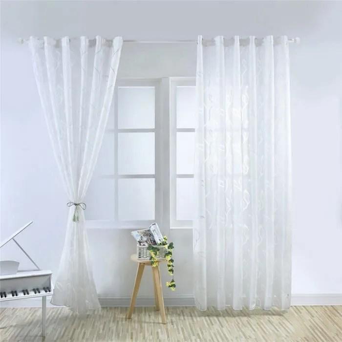 1pcs 100x250cm rideaux voilage blanc pour porte fe