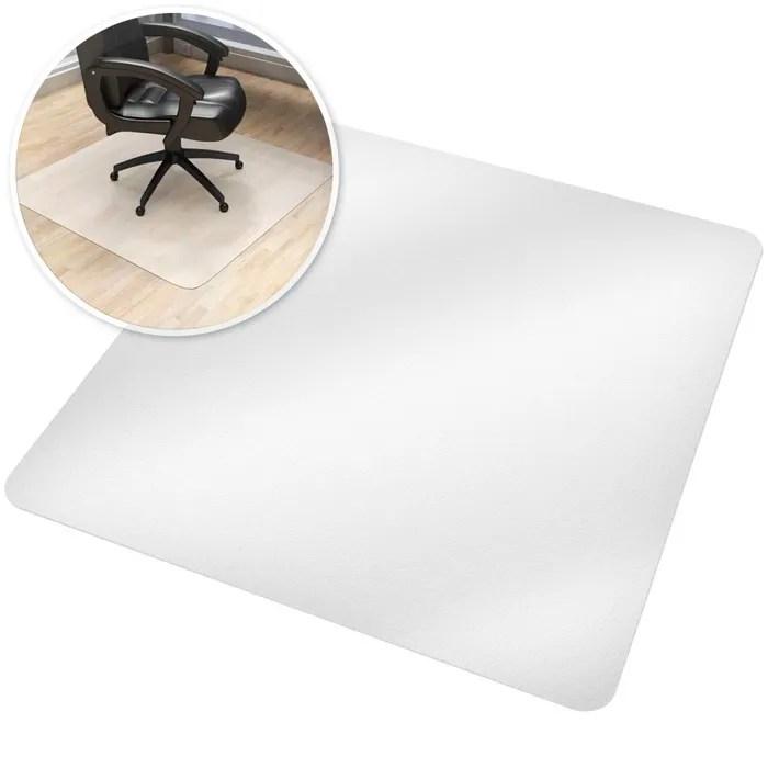 tectake tapis de bureau carre blanc transparent 90