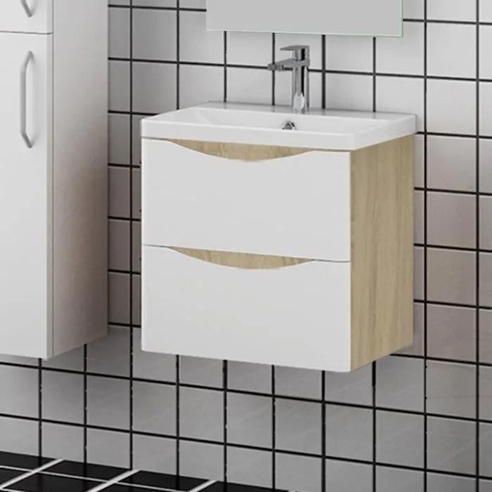 meuble salle de bain 50x35x54cm 2 tiroirs meuble suspendu avec la vasque couleur blanc et bois