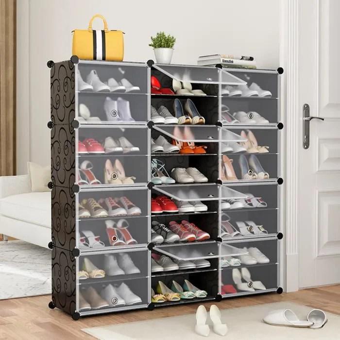 120x30x120cm meuble a chaussure plastique 24 grilles facile a assembler