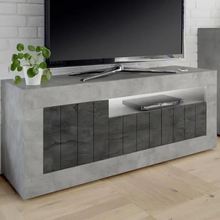 meuble tele moderne gris effet beton mabel 7 l 138
