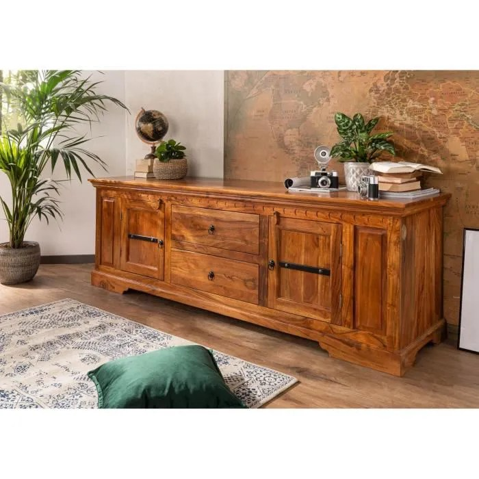 meuble tv bois massif d acacia laque miel st