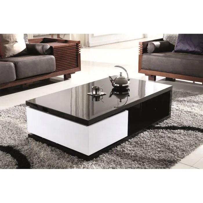 table basse design laquee noir et blanc
