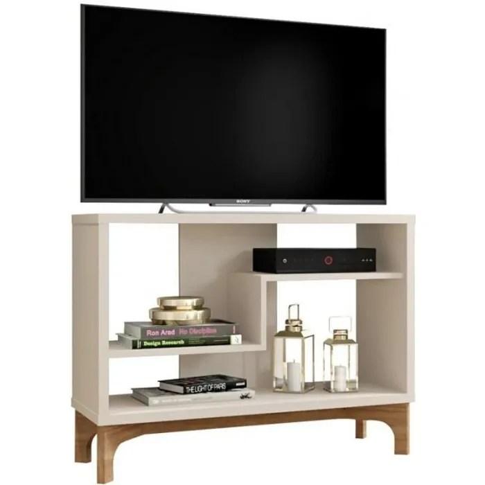 meuble tv 90 cm blanc casse et chene