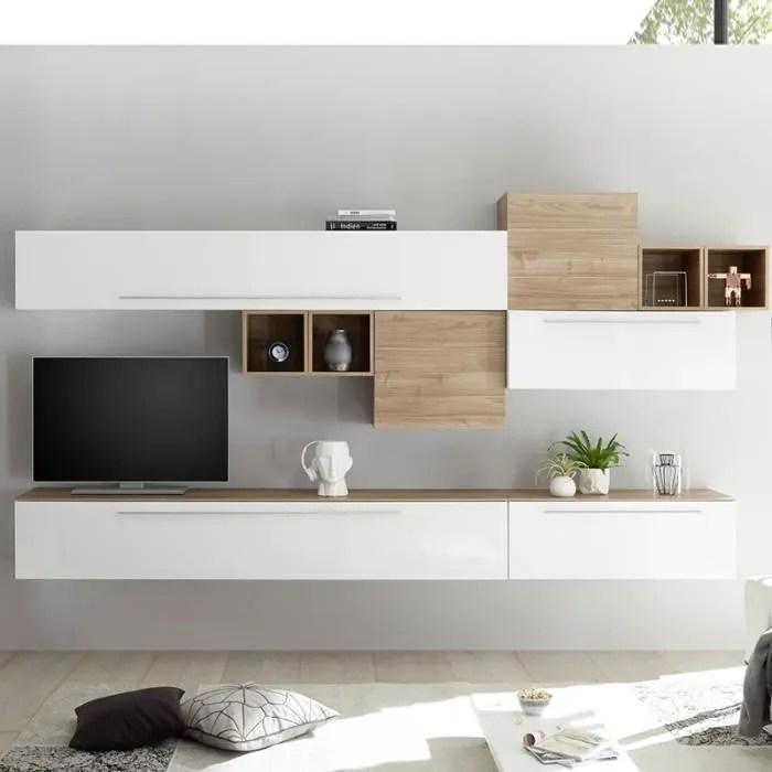ensemble tv mural blanc et couleur bois clair vast
