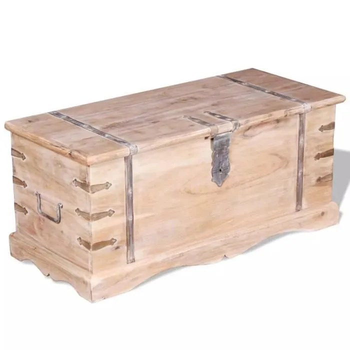 coffre de rangement banc pouf tabouret siege bois
