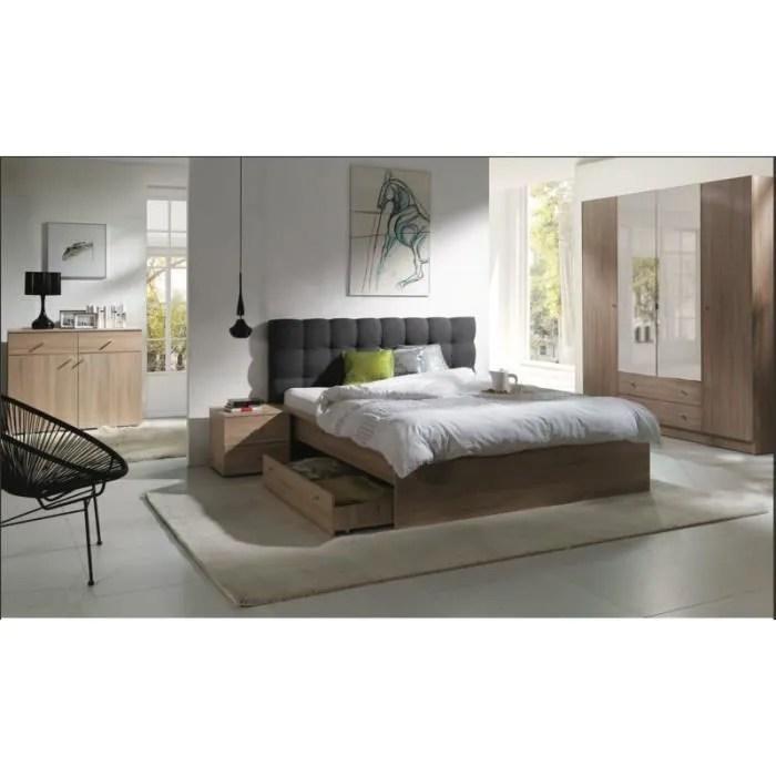 chambre a coucher complete maxim lit adulte 160x200 cm tiroir sommier chevets commode armoire garde robe