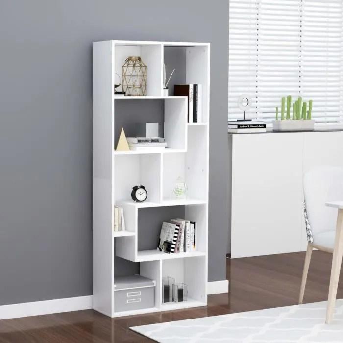 bibliotheque etagere meuble de rangement design contemporain blanc 67x24x161 cm agglomere