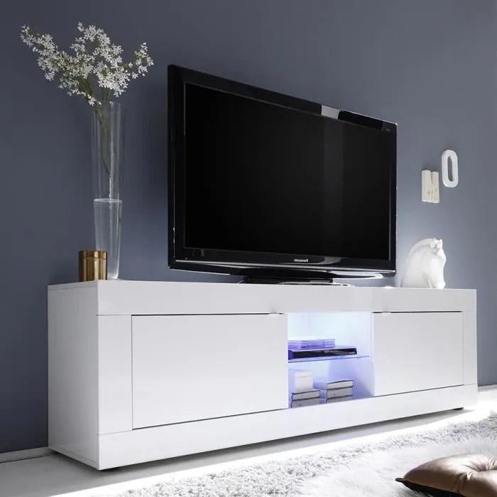 meuble tv lumineux blanc laque design ariel l 181