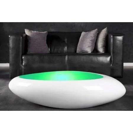 table basse design blanc laque galet ii