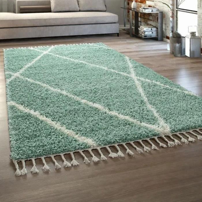 tapis de salon vert poils longs design scandinave