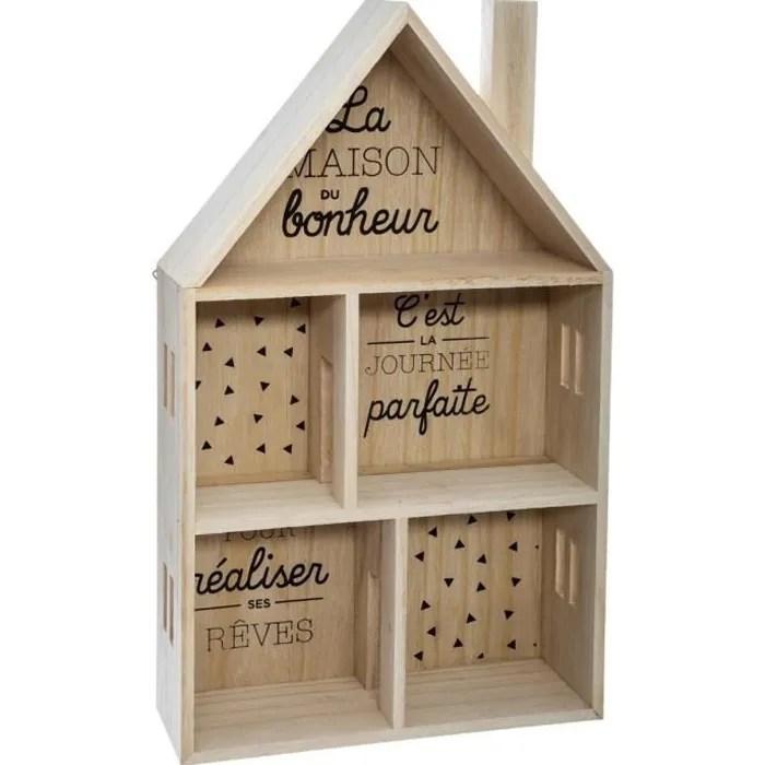etagere enfant forme maison en bois l 28 x l 10 x h 47 cm