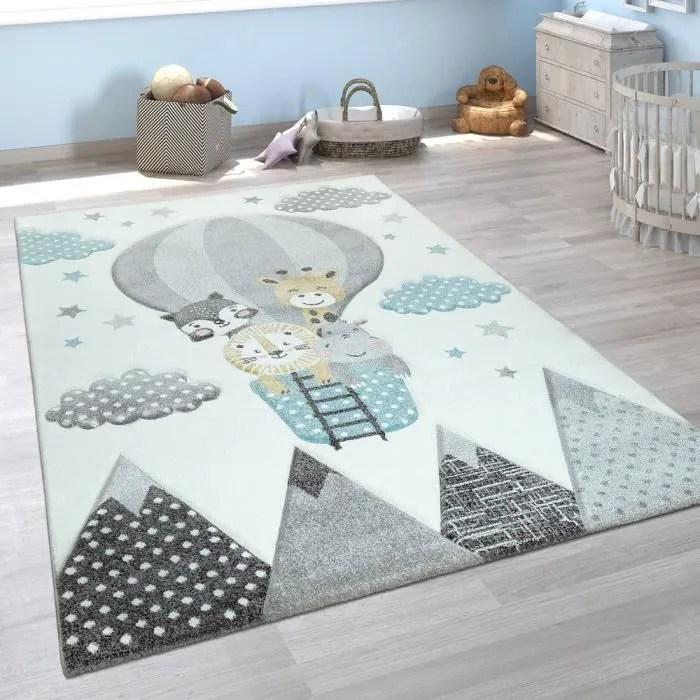 tapis chambre enfant adorable montgolfiere nuages