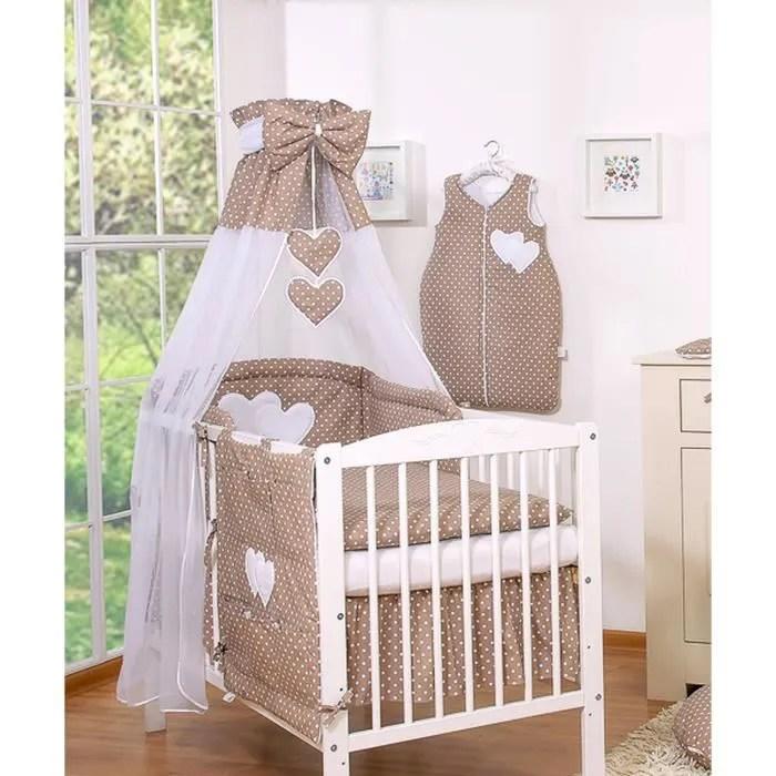 ciel de lit bebe en voile avec bande marron a po