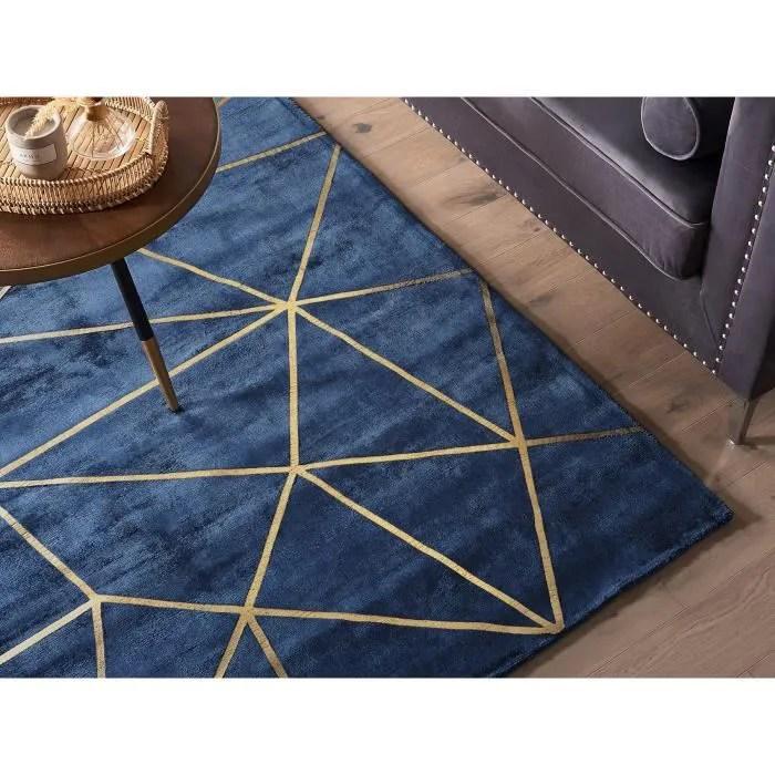 beliani tapis en viscose bleu marine