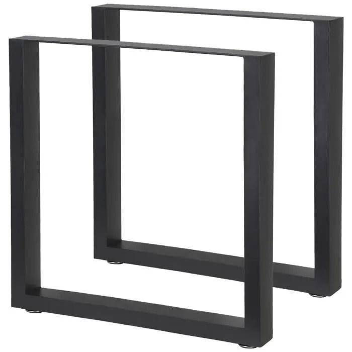 2 jambes pieds de tables acier v2aox 70 x 72 cm