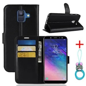 COVER - CASE Case Cover Samsung Galaxy A6 2018 Black in PU Leather