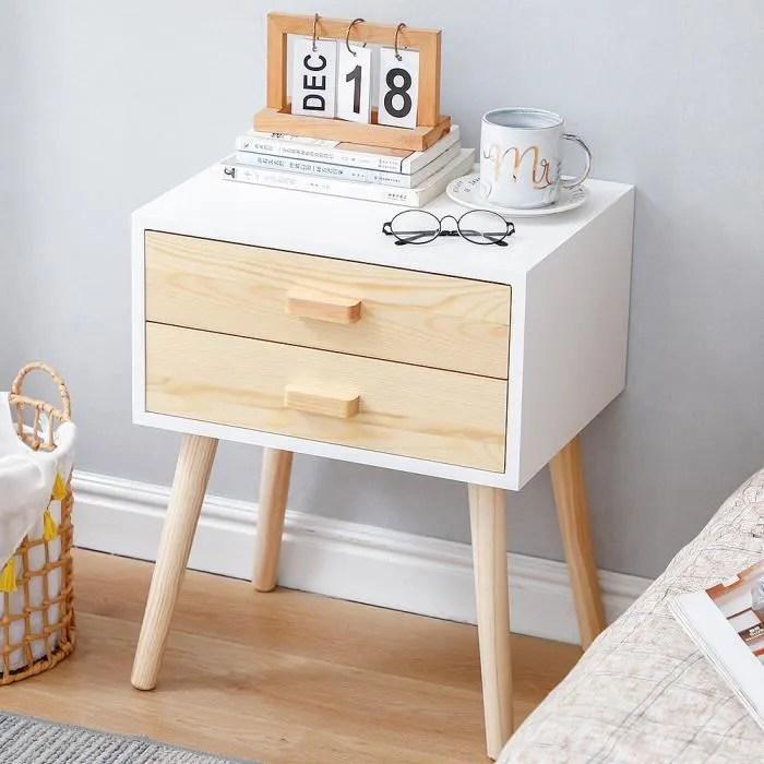 tables de chevet bois blanc style