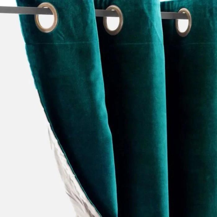 rideau velours vert paon achat