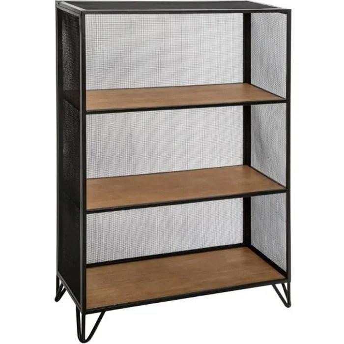 atmosphera meuble etagere 3 casiers en bois et metal noir 74 5 x 32 5 x h 114 cm noir