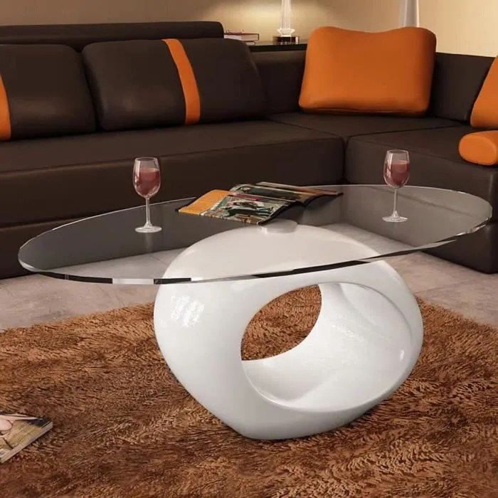 table basse ronde avec dessus de table en verre ovale brillant table basse de salon blanc