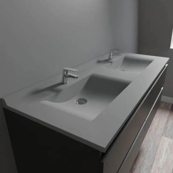 Plan Double Vasque En Resine Resiplan Gris Beton 140 Cm Achat Vente Lavabo Vasque Plan Double Vasque En Resine Cdiscount