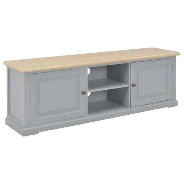 meuble tv gris 120x30x40cm bois avec 2 portes et 2 compartiments ouverts