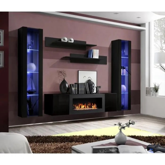 meuble tv 2 vitrines verticales led
