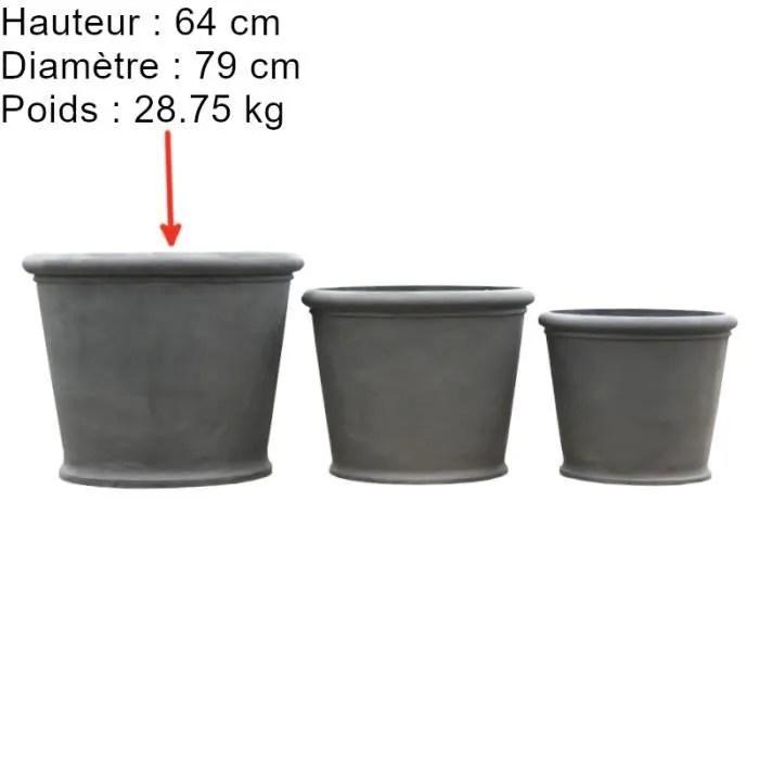 grand gros pot cache pot vasque jardiniere ronde grise fonte o64 cm x 79 cm 14673 pot