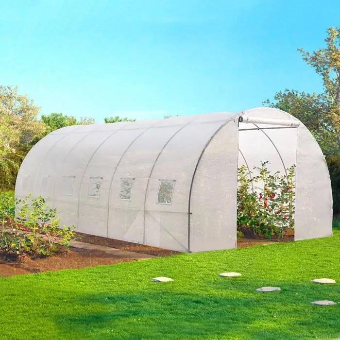 serre tunnel de jardin 18m blanche