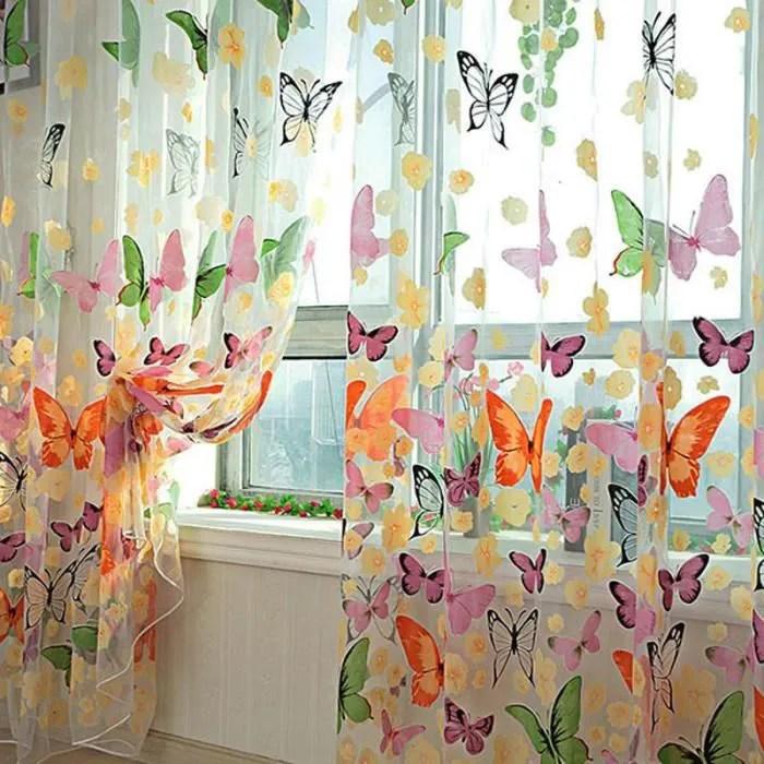rideaux voilage papillon fleurs cantonniere fenetr