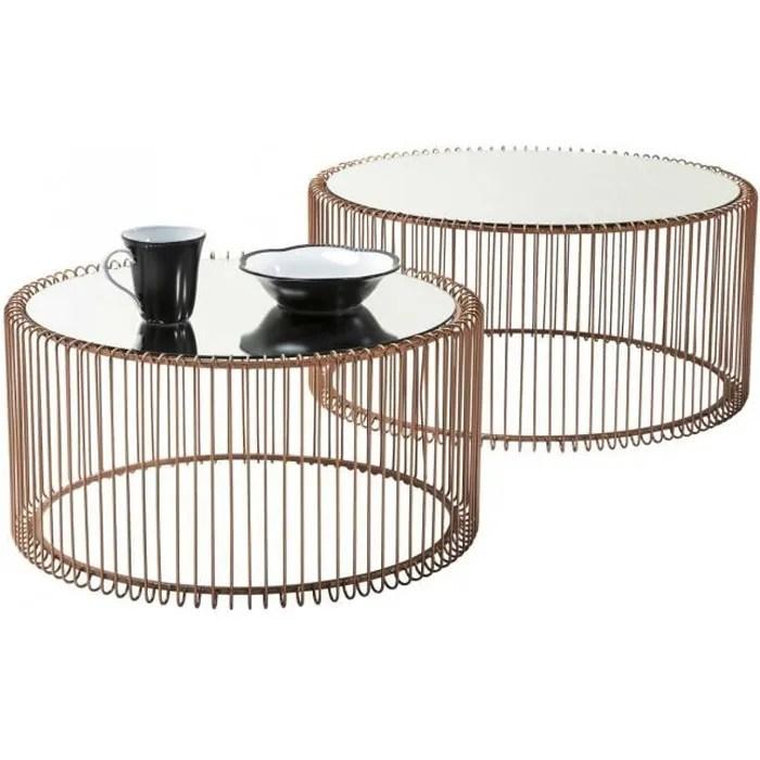 table basse ronde wire cuivre 2 set kare design