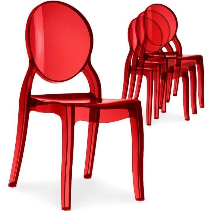 lot de 4 chaises medaillon diva plexi transparent rouge