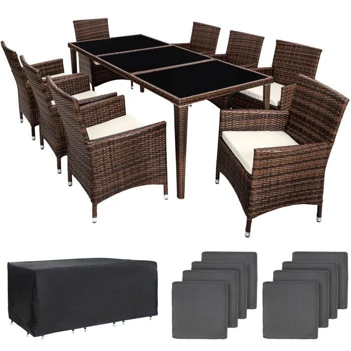 tectake salon de jardin monaco resine tressee 8 personnes 8 fauteuils 1 table 1 housse marron