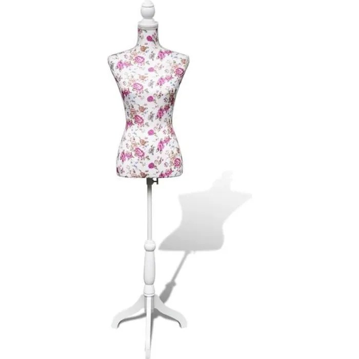 Buste De Couture De Femme Modele Porte Vetement Hauteur Reglable 133 168 Cm Mannequin En Coton Blanc Motifs A Rosiers Cdiscount Beaux Arts Et Loisirs Creatifs